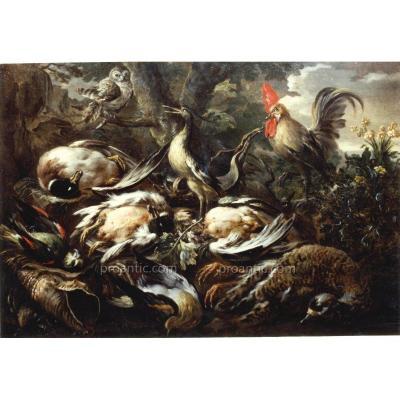 Dipinto Ad Olio Su Tela Di Felice Boselli  'natura Morta Con Paesaggio'