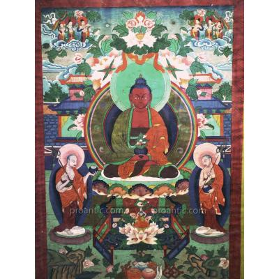 Superb Tibetan Thangka Painted On Canvas