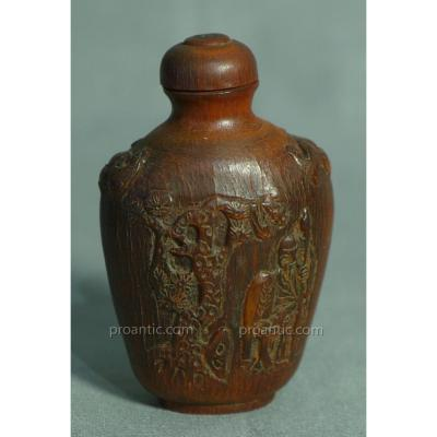 Extremement Rare Snuff-bottle chinoise 17eme En Corne precieux