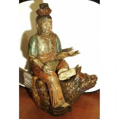 Grand Bouddha En Bois Policrome