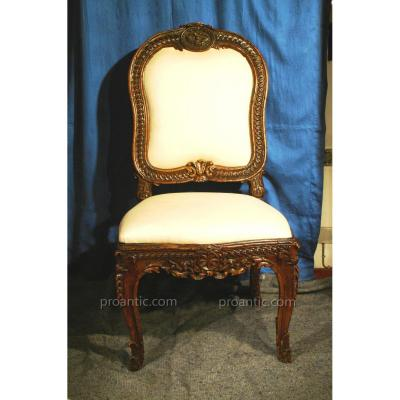 Very Rare Set Of Six Chairs L. XV 'rome' Walnut Wood Carved '