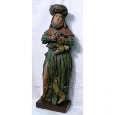 Statue XV° En Noyer Peint  'profete'