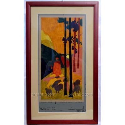 Paire De Tableaux Deco'  Par  Bernard Dunand