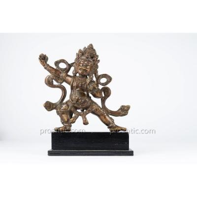 Engraved Bronze Mahakala 'from Copper And Silver