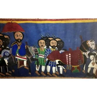 Ancient Ethiope Painting On Canvas 'scene With The Emperor'
