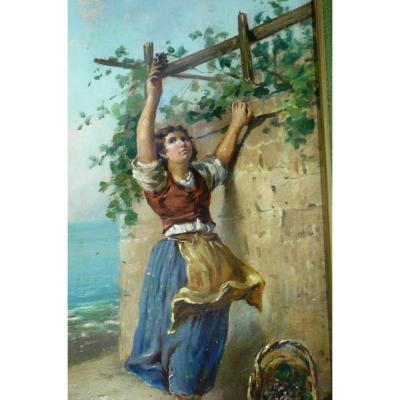 Oil Painting On Canvas' 'scene Agreste' Painter Cammarano