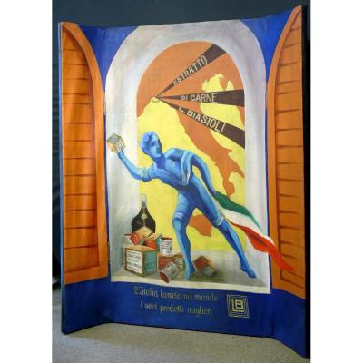 Rare Peinture Huile Sur Toile  'project D 'affiche Pubblicitaire ' Dado Biasioli'