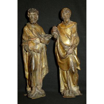 Paire De Sculptures  Bois Dore'  'evangelistes'