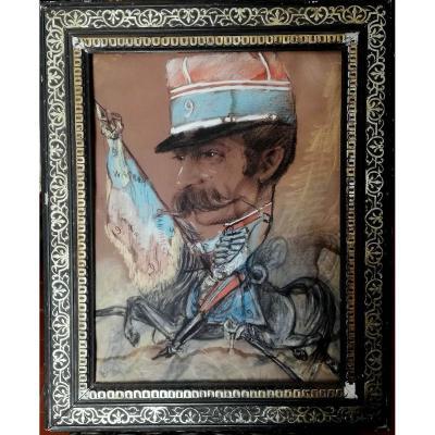 Beau Tableau Pastel Caricature d'Un Militaire  : M.chal MARMONT