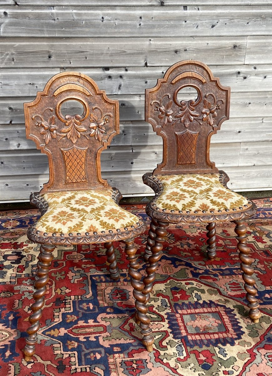 Pair Of Scabelles Chairs In Oak Louis XIII Style