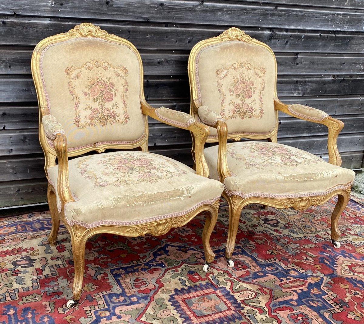 Living Room Furniture In Golden Wood XIX Eme Century-photo-4
