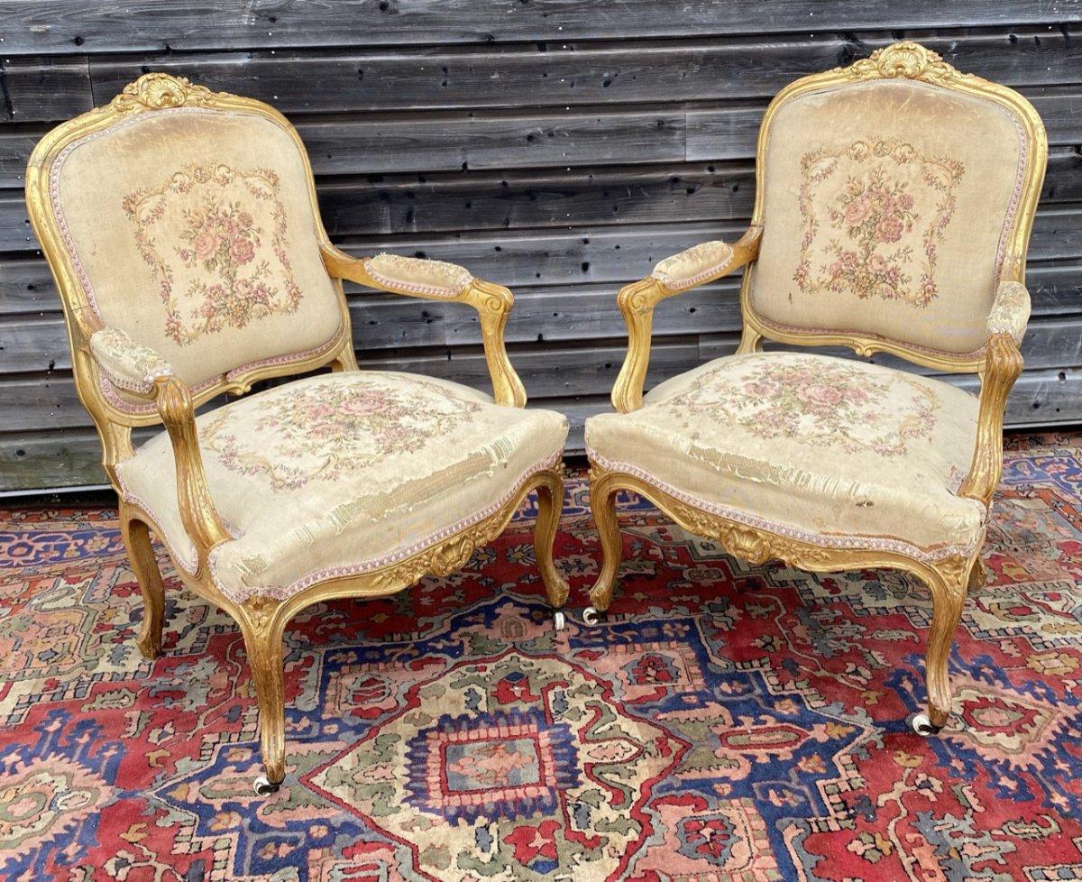 Living Room Furniture In Golden Wood XIX Eme Century-photo-5