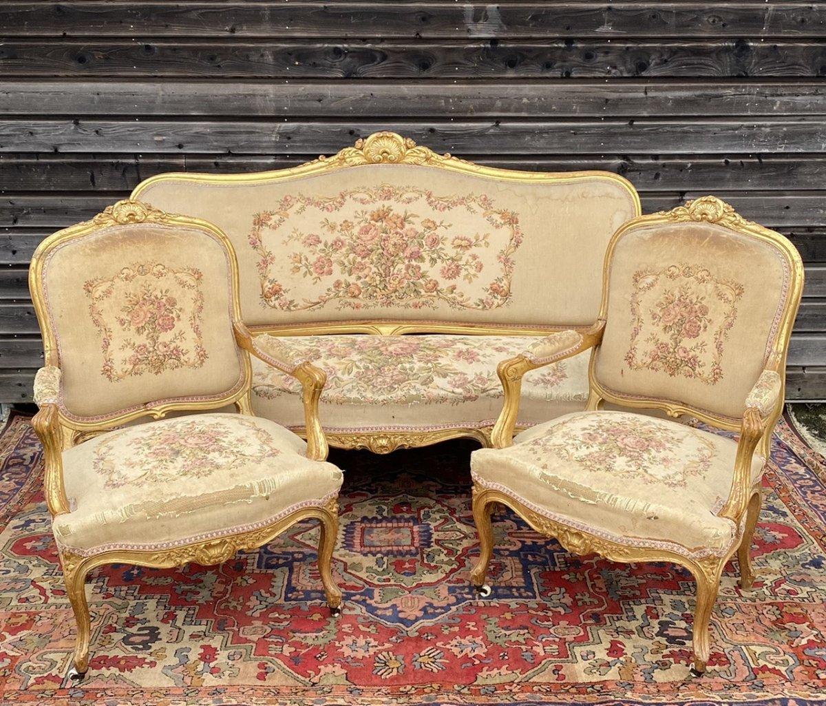 Living Room Furniture In Golden Wood XIX Eme Century