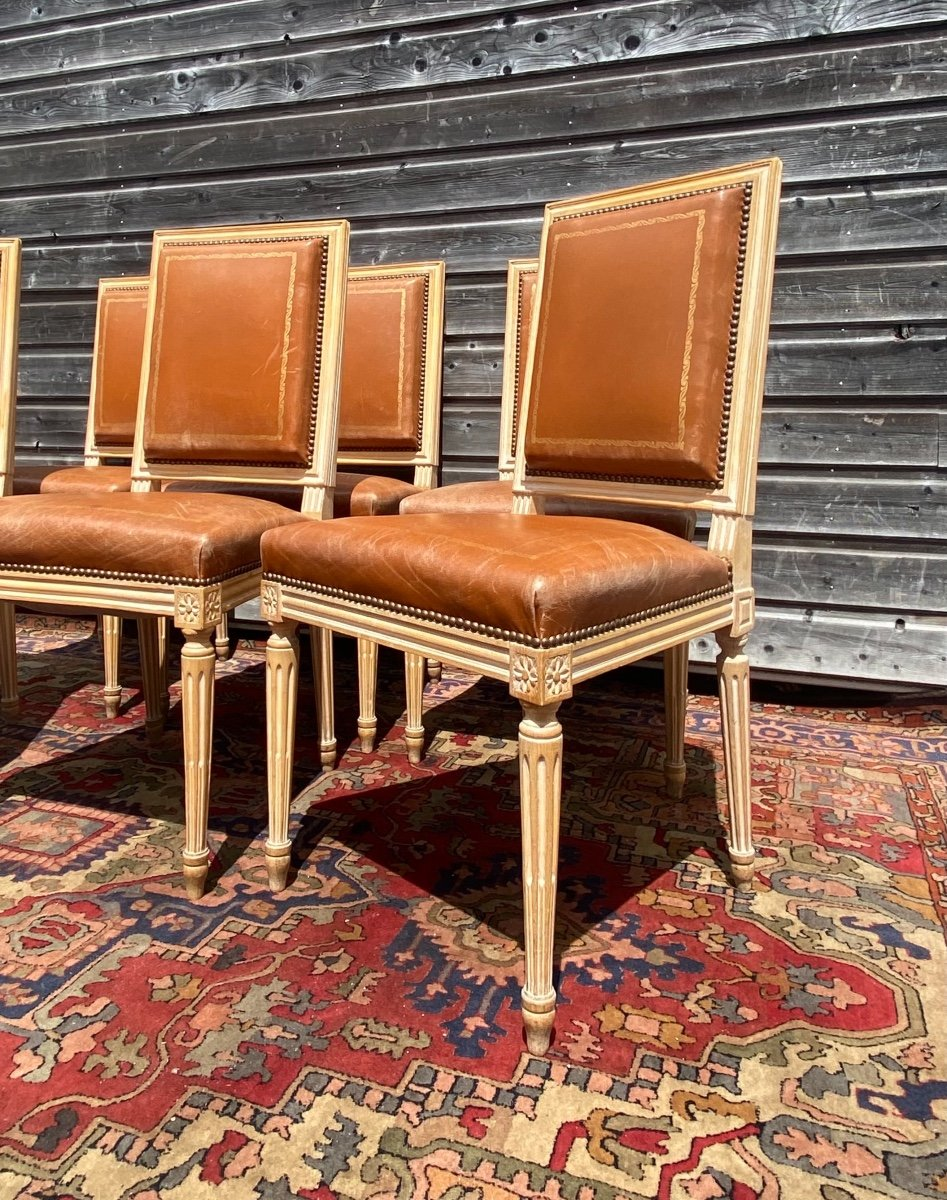 Suite Of Six Chairs In Lacquered Wood Louis XVI Style XX Eme Century-photo-3