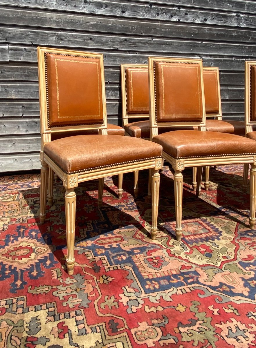 Suite Of Six Chairs In Lacquered Wood Louis XVI Style XX Eme Century-photo-4