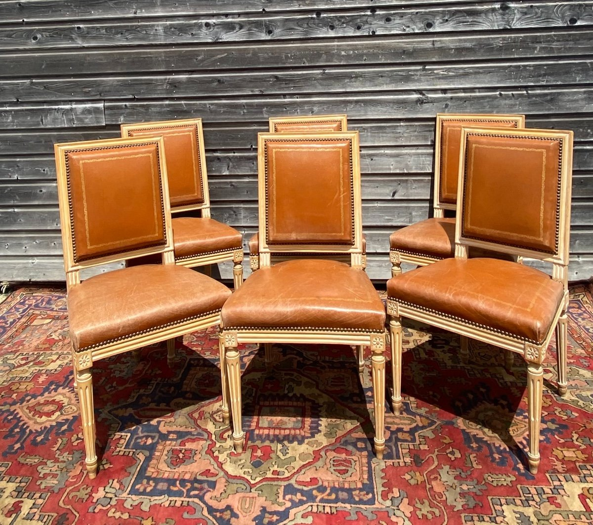 Suite Of Six Chairs In Lacquered Wood Louis XVI Style XX Eme Century-photo-1
