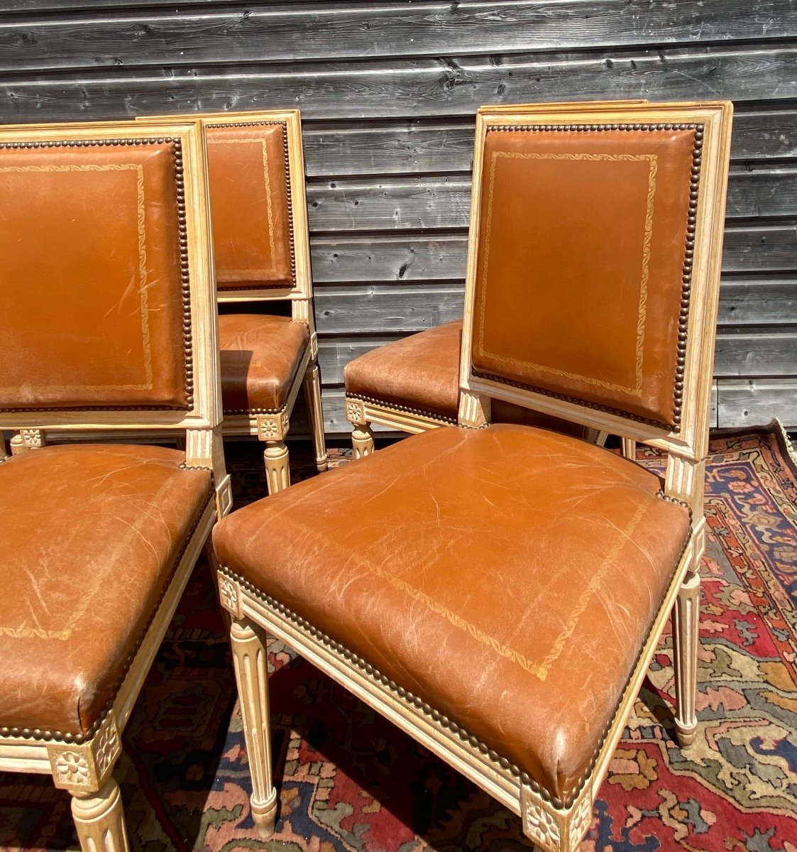 Suite Of Six Chairs In Lacquered Wood Louis XVI Style XX Eme Century-photo-2