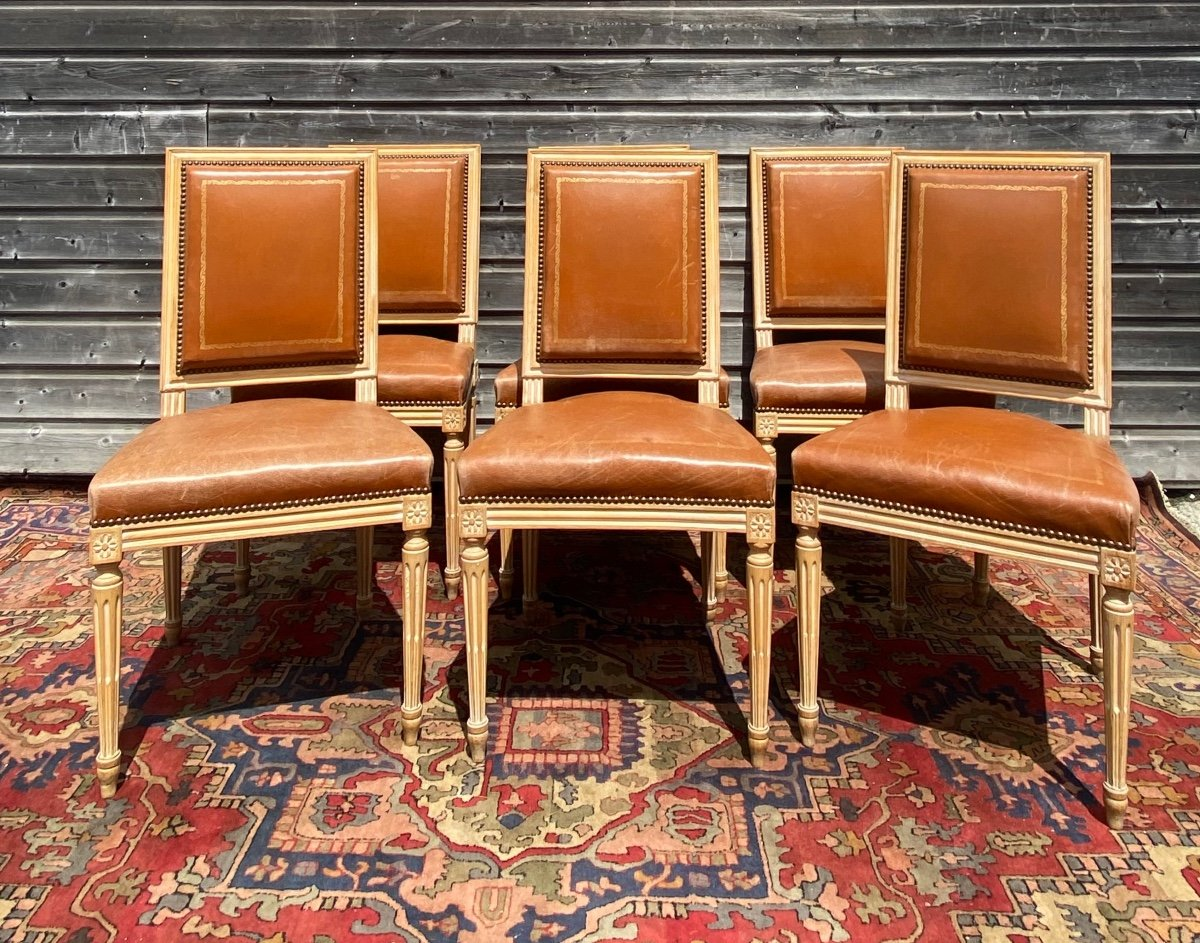 Suite Of Six Chairs In Lacquered Wood Louis XVI Style XX Eme Century
