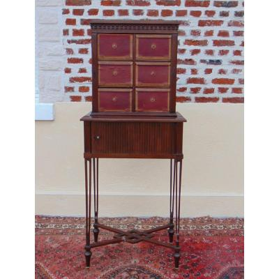 Cabinet Formant Cartonnier Mahogany In The Taste Of Charles Guillaume Diehl