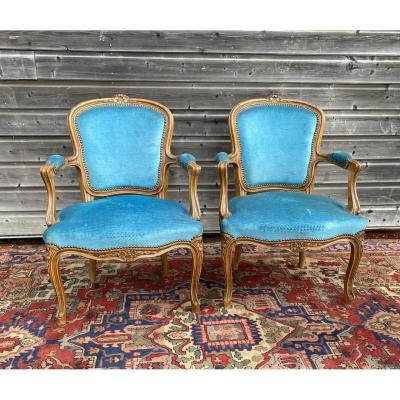 Pair Of Louis XV Style Armchairs XIX Eme
