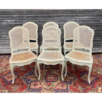 Suite Of Six Louis XV Style Lacquered Wood Chairs