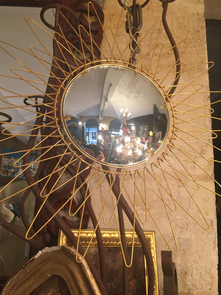 Convex Mirror 1950 Gilt Bronze