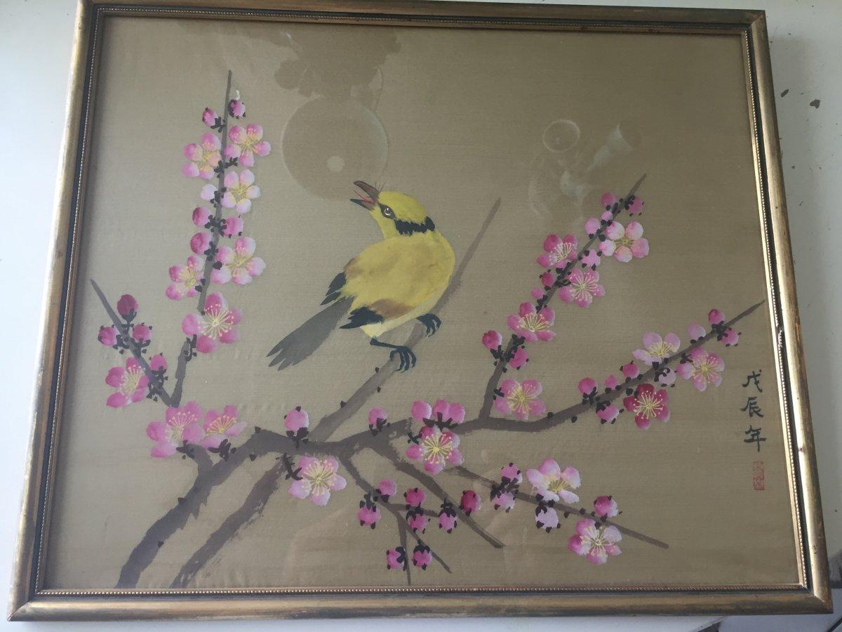 Peinture Sur Soie Chinoise XIXeme