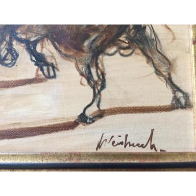Huile Sur Toile «corrida» De Weisbuch Claude