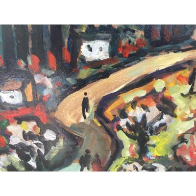 Huile De Henri Autran paysage Provencal