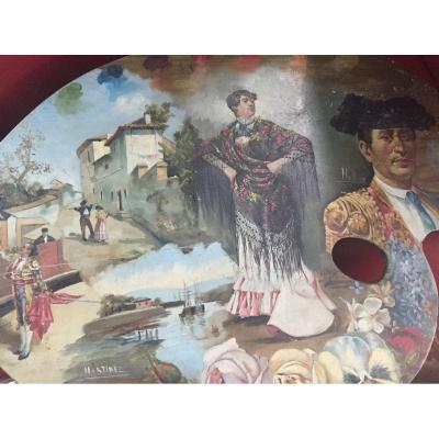 Pallet Of Painter Bullfighting XIXth