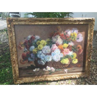Tableau Fleurs Dalhias Paniere D'osier 1,10x89 de Louis emile Minet