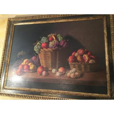 Nature Morte Aux Fruits Grenades , Pastèque , Raisins