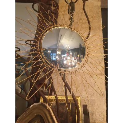 Convex Mirror 1950 Gilt Bronze