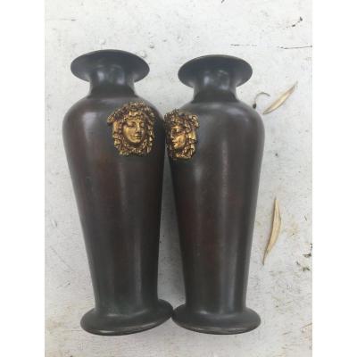 Pair Of Bronze Vases Year 40