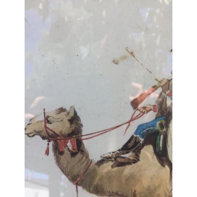 Gouache: Dromedary And Soldier