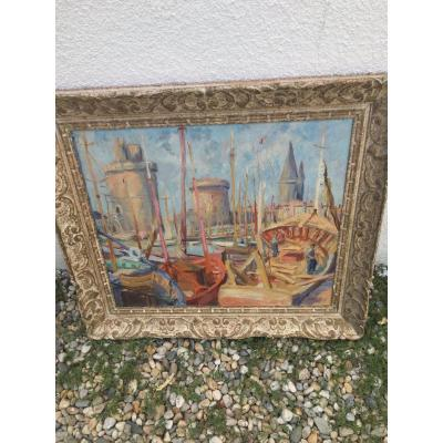 Oil On Canvas: The Port Of La Rochelle