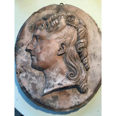 Oval Medallion Terracotta Young Woman