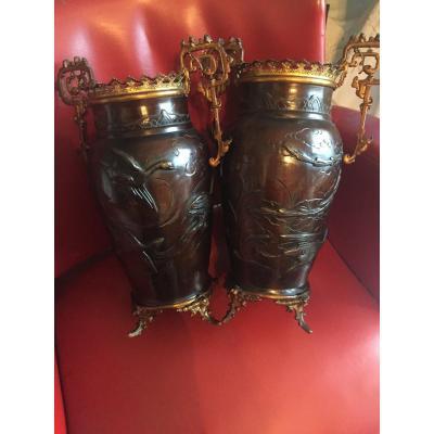 Vases Bronze Indochinois XIXeme