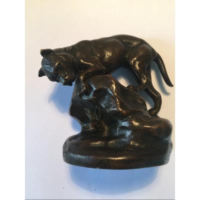 Bronze De Masson  Chien Et Lievre
