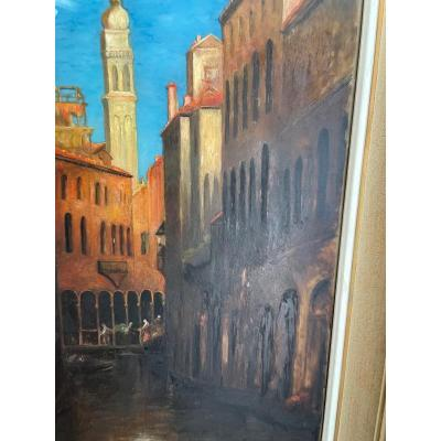 Huile Sur Verre ; Canal De Venise