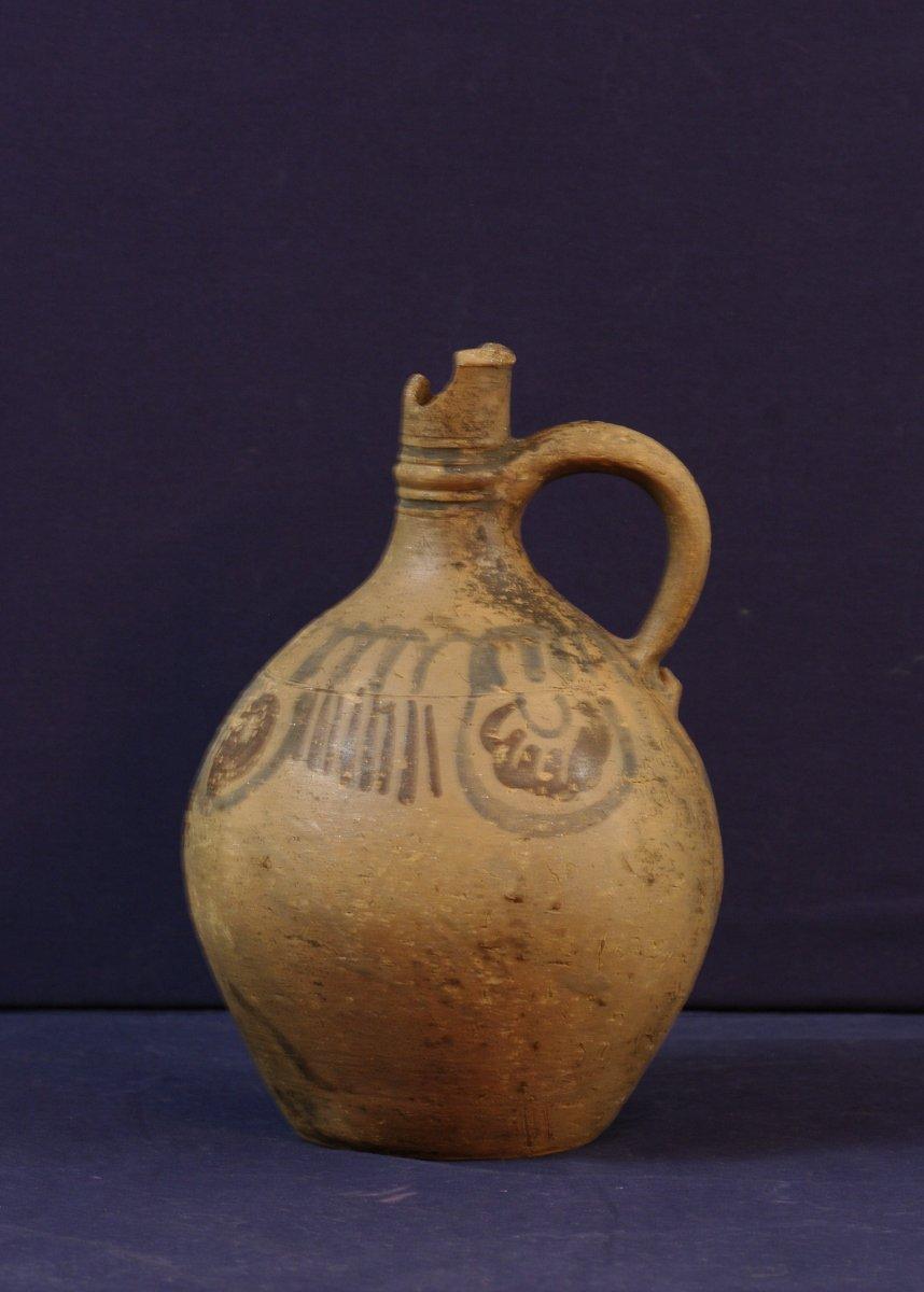 Antique Terracotta Jug With Simple Decor Blue And Plum Medieval Era-photo-2