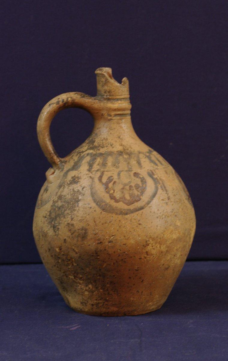 Antique Terracotta Jug With Simple Decor Blue And Plum Medieval Era-photo-3