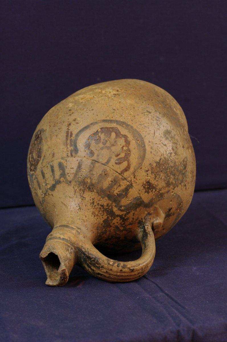 Antique Terracotta Jug With Simple Decor Blue And Plum Medieval Era-photo-1
