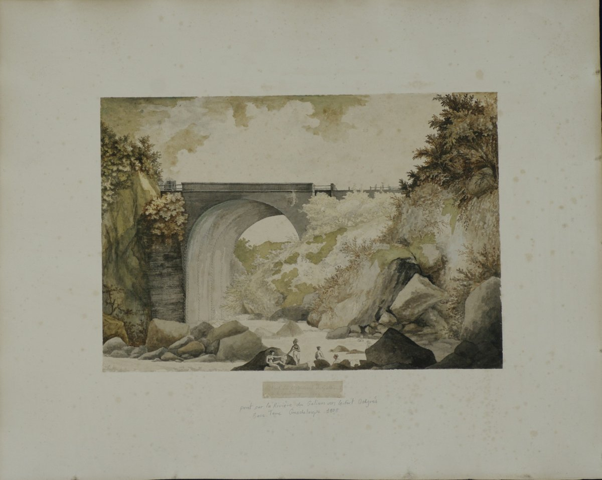 Watercolor Dated 1808 Pont Delgrès On The River Galion In Guadeloupe