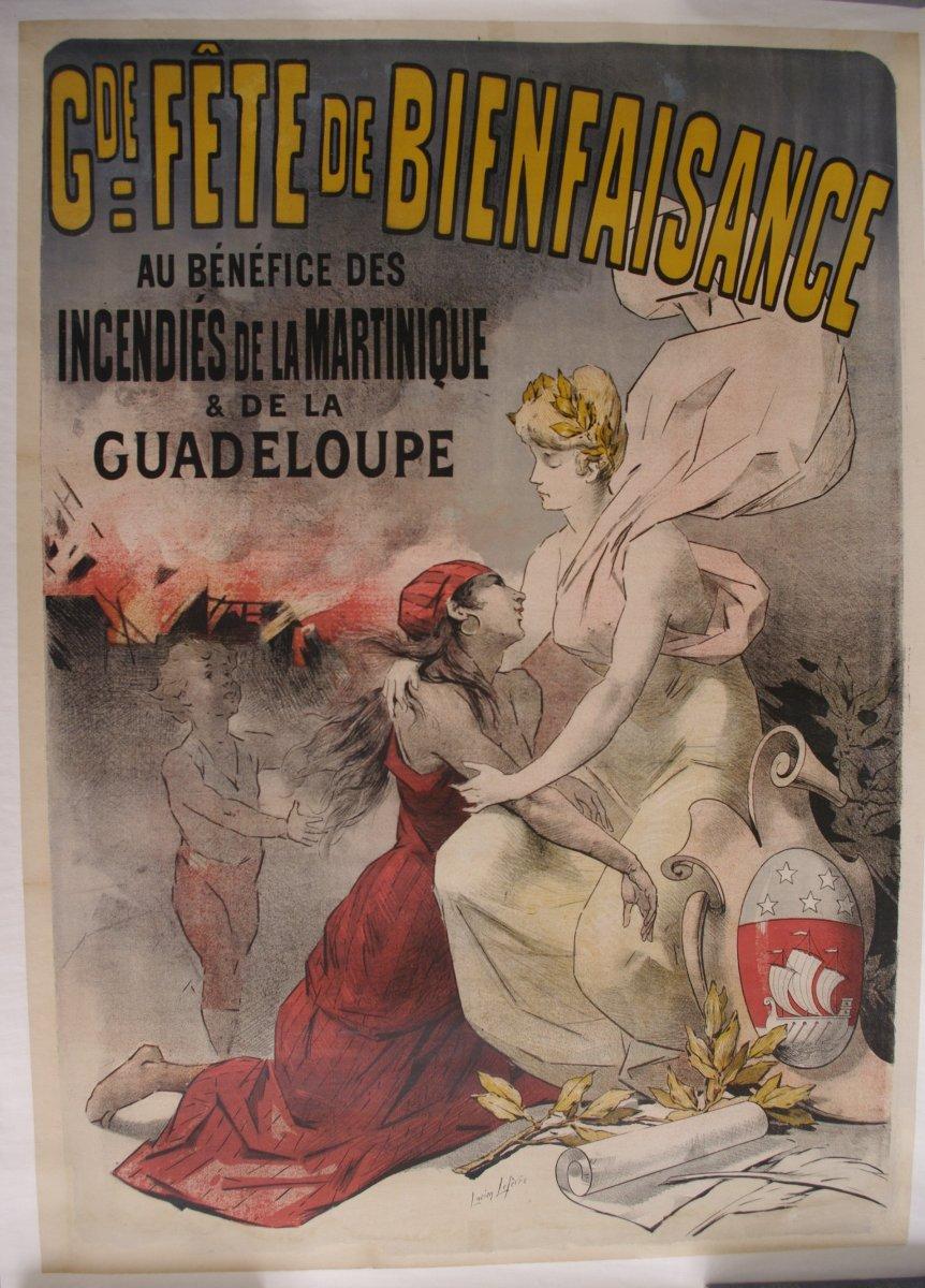 Poster 1902 Eruption Mount Pelee Martinique Caribbean Antilles Lucien Lefevre