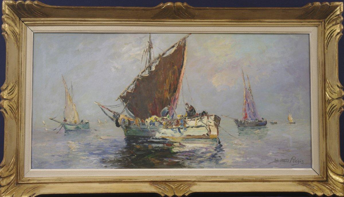 Grand Tableau Bérard Régis Louis Bissinger Marine Bateaux