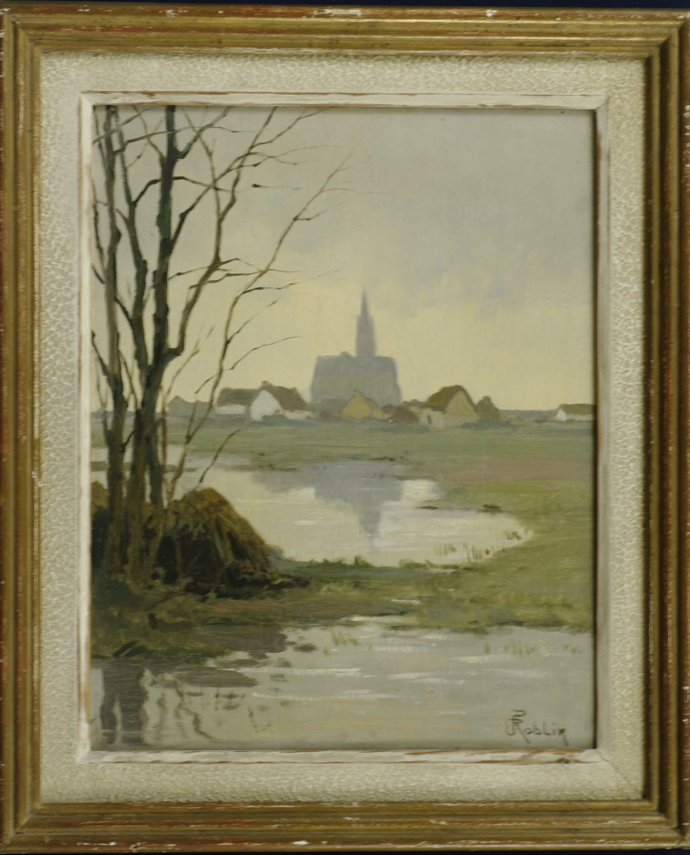 Tableau Paul Roblin 1930 Paysage à La Mare