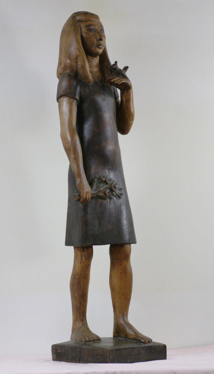 Grande Sculpture Bois Alfred Benon 1955 Fillette à l'oiseau Saumur Maine-et-loire