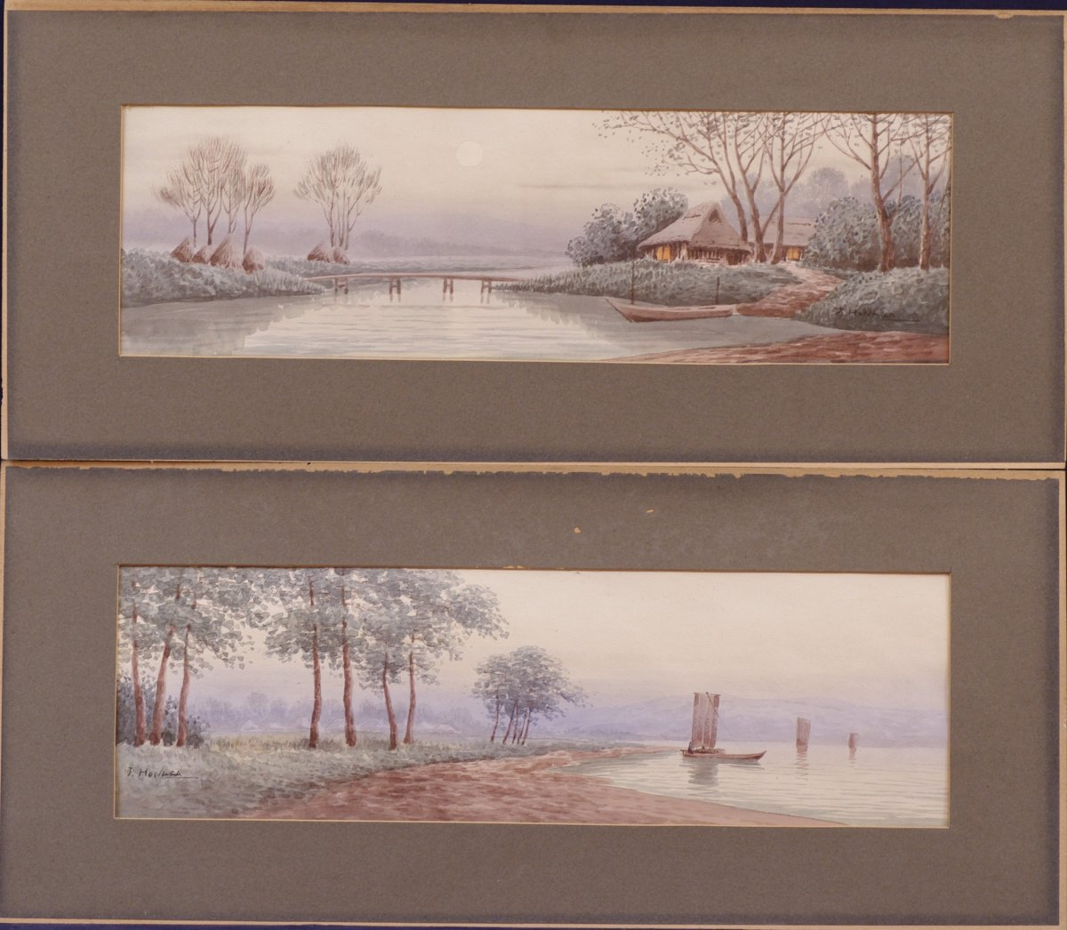 Pair Of Watercolors Signed J. Honaga Asia Far East
