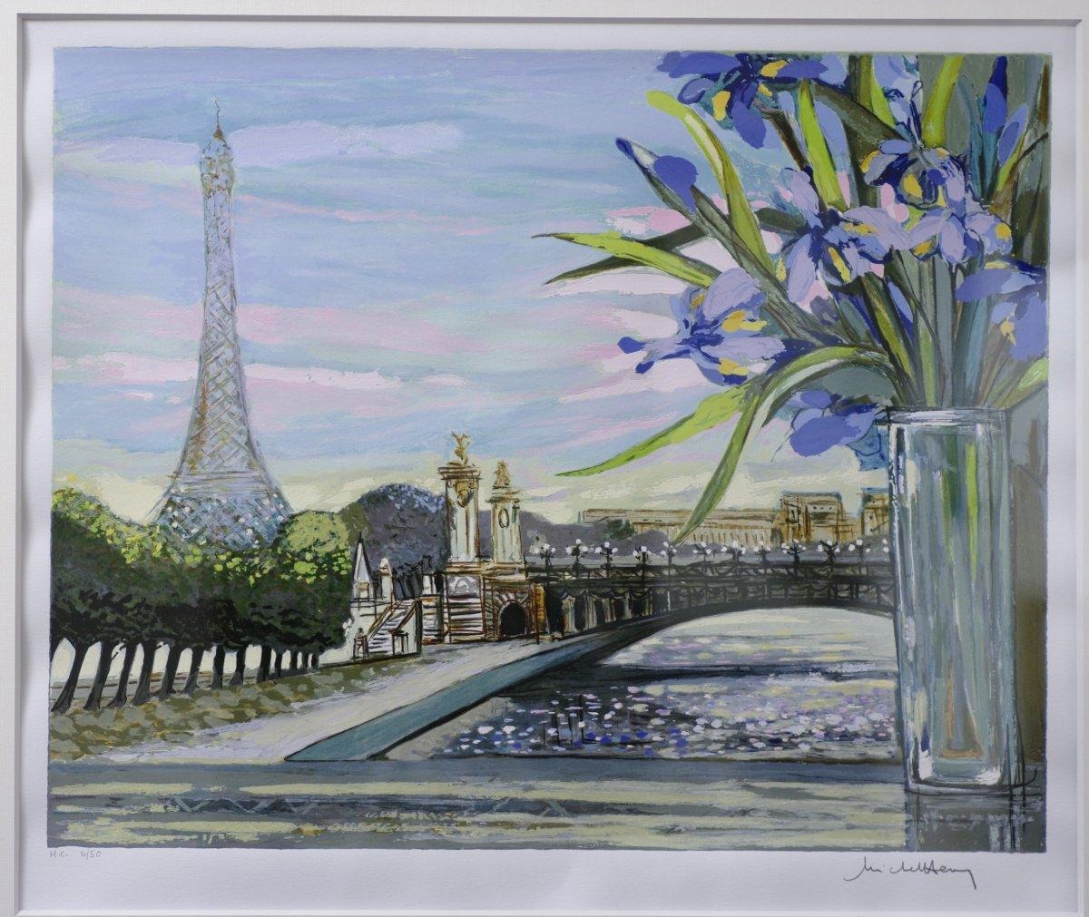 Sérigraphie Originale Michel Henry Tour Eiffel Pont Alexandre III Paris-photo-2